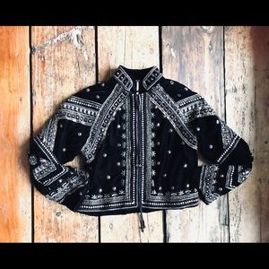 Free people sequin beaded black jacket XS